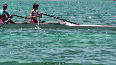 Rowing on Lake 01 Stock Video Footage