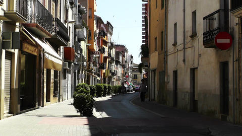 Small Town Street in Spain 02 Catalonia Stock Video Footage