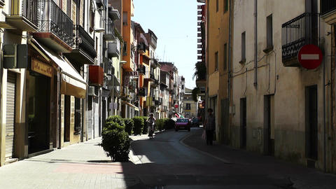 Small Town Street in Spain 02 Catalonia Footage