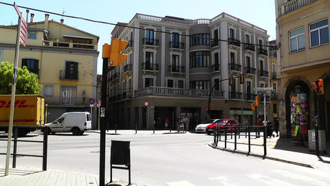Small Town Street in Spain 04 Catalonia Stock Video Footage