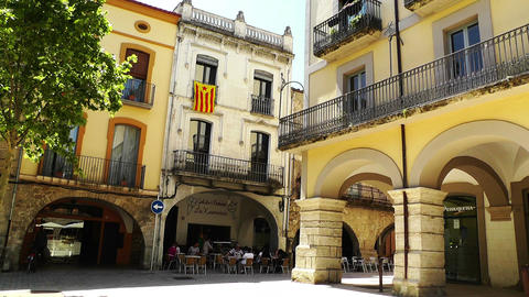 Small Town Street in Spain 08 Catalonia Footage
