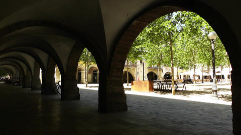 Square and Arcade in Small Town in Spain 03 Catalonia Stock Video Footage