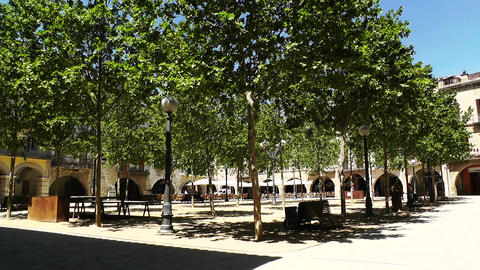 Square in Small Town in Spain 02 Catalonia Footage