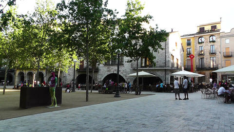 Square in Small Town in Spain 06 Catalonia Stock Video Footage