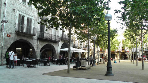 Square in Small Town in Spain 09 Catalonia Stock Video Footage