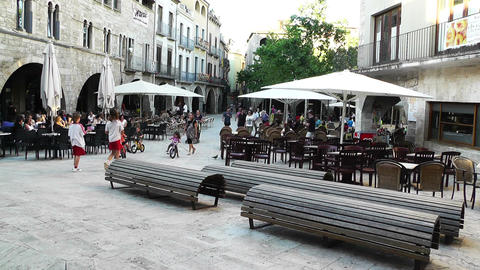 Square in Small Town in Spain 11 Catalonia Stock Video Footage