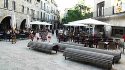Square in Small Town in Spain 11 Catalonia Footage