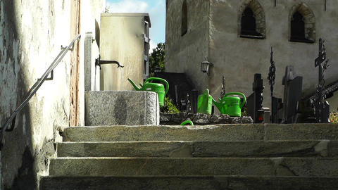 Stairs to Cemetery Stock Video Footage