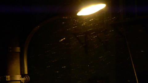 Snow drift under lamp Street light Poles,wind,particle Stock Video Footage