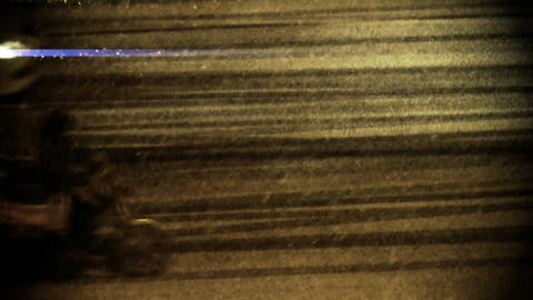 Vehicle car traveling on road in snow at night,traffic Stock Video Footage
