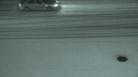 Vehicle car traveling on road in snow at... Stock Video Footage