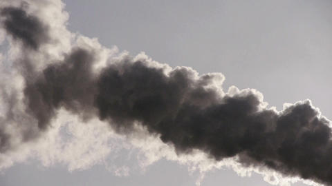 fumes billow,smoke stack,air pollution,energy generation Stock Video Footage
