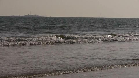 waves on sandy beach,white surge Stock Video Footage