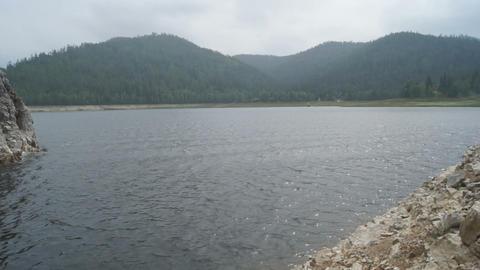 Krasnoyarsk Reservoir Biryusa Bay (pan left) Stock Video Footage