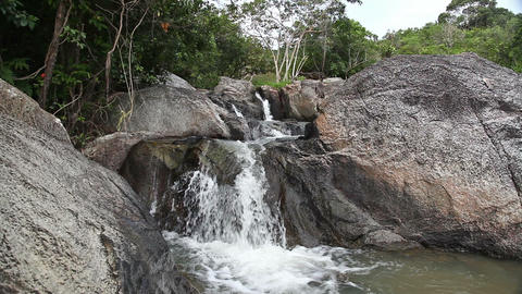 Waterfall in summer mountain Stock Video Footage