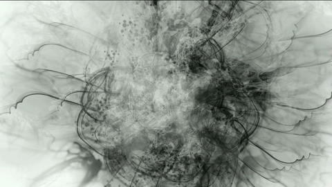 splash ink spot & clouds,wire lines Stock Video Footage