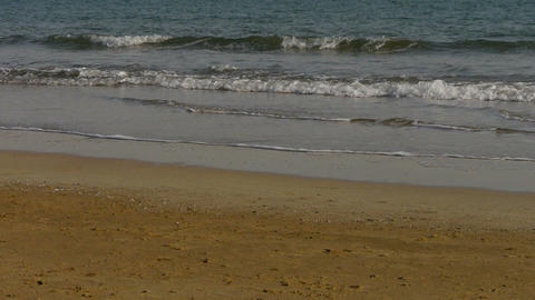 waves on sandy beach,bubble and blister on sand Stock Video Footage