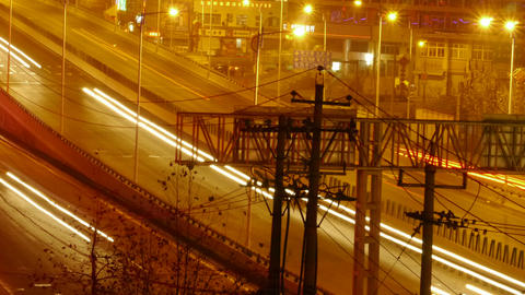 city traffic at night,bangkok highway time lapse Stock Video Footage