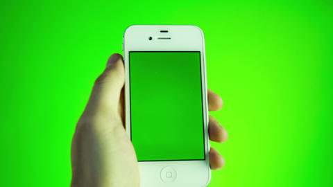 Man Using Smartphone With Green Screen Footage