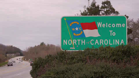 View of the Welcome to North Carolina Sign Footage