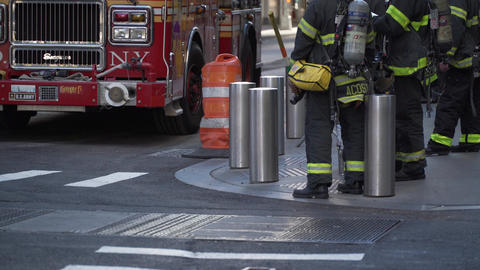 NYC Firemen and firetruck Footage