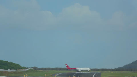 Airplane makes a turn on the runway Live Action