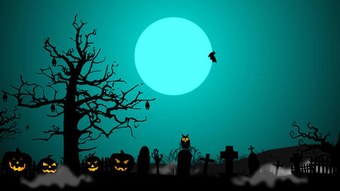 scary foggy grave yard with tree, pumpkin, gravestone pop up animation After Effects Template