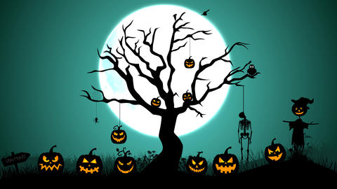 Halloween foggy Graveyard with tree, scarecrow ,pumpkin and hanging skeleton After Effects Template