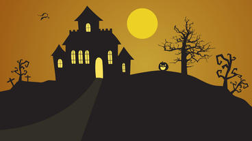 Halloween house on hill with tree, pumpkin pop up and bats flying animations After Effects Project