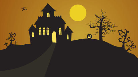 Halloween house on hill with tree, pumpkin pop up and bats flying animations After Effects Template