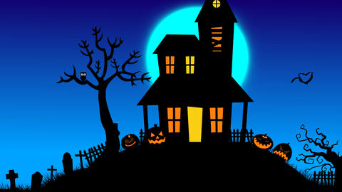 Halloween house on hill with tree, pumpkin ,grave stone pop up and bats flying a After Effects Template