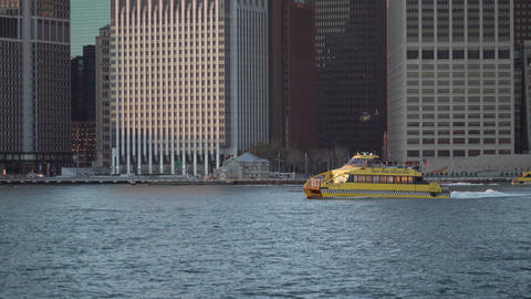 Boats on the Hudson River, Manhattan shore Footage