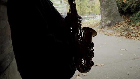 Man plays saxophone Footage
