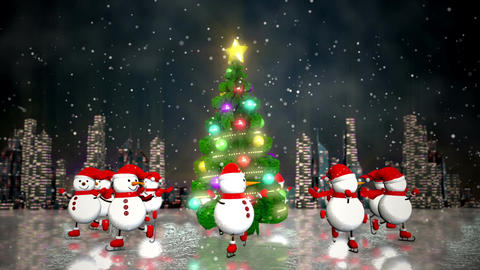 Snowmen skating round the christmas tree Animation