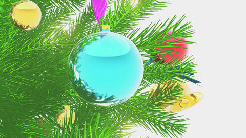 Decorated Xmas tree on white background Close-up Animation