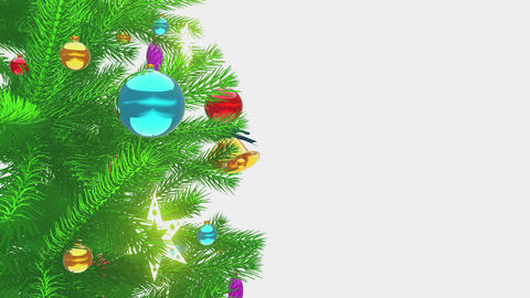 Shiny baubles on the christmas tree close-up 4K Animation
