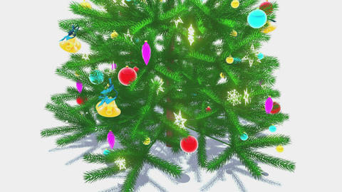 Rotating decorated christmas tree Close-up Animation