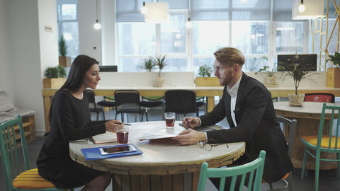 Business Partners at the meeting. Lady discusses strategy with a man Footage