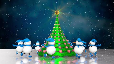 Snowmen skating round the christmas tree Animation