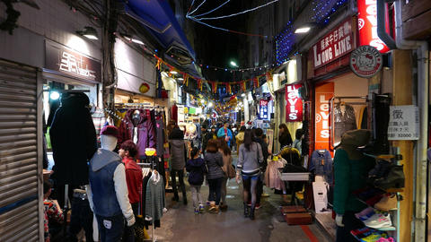Authentic night shopping street, garments and clothing stores, Shilin area Footage