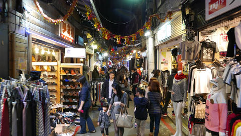 Authentic modern taiwanese shopping street in Shilin area, nightlife Footage