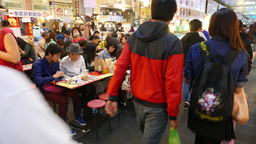 Foodcourt tables, crowded passage, people eating, market indoor foodcourt Footage
