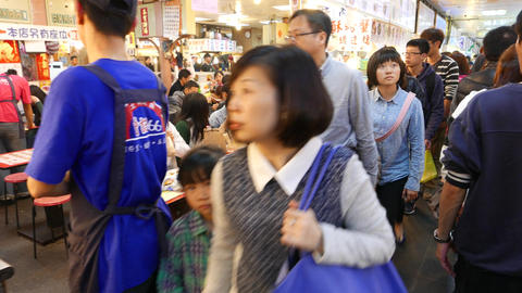 Aisle on food court, asian faces, crowded area Footage
