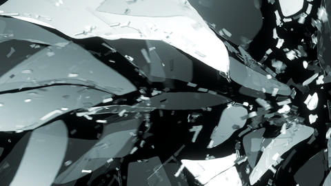 Glass smashed and broken in slow motion. Alpha matte Animation