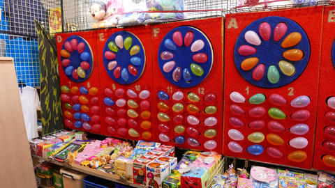 Board with colourful balloons, amusement area aims to blow up for score Footage