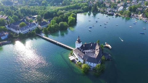 aerial view Schloss Ort on lake Traunsee in Gmunden Austria, alps Footage