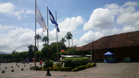 Flag from Nicaragua on Cathedral square Footage