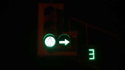 Traffic light with timer Footage