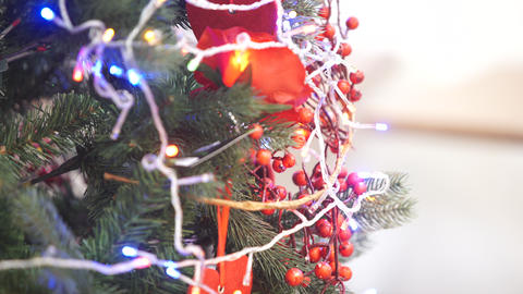 Christmas tree decorated with garlands and toys Footage