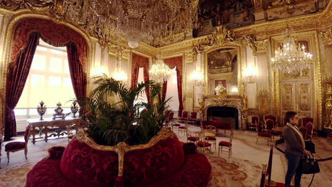 Apartments of Napoleon III in the Louvre Museum in Paris. France. 4K Footage